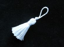 10 small white wedding decoration tassels - Mini craft embellishments trim